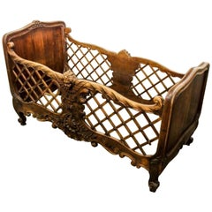 Rare and Unusual 19th Century Louis XVI Style Dog/ Doll Bed or Baby Crib