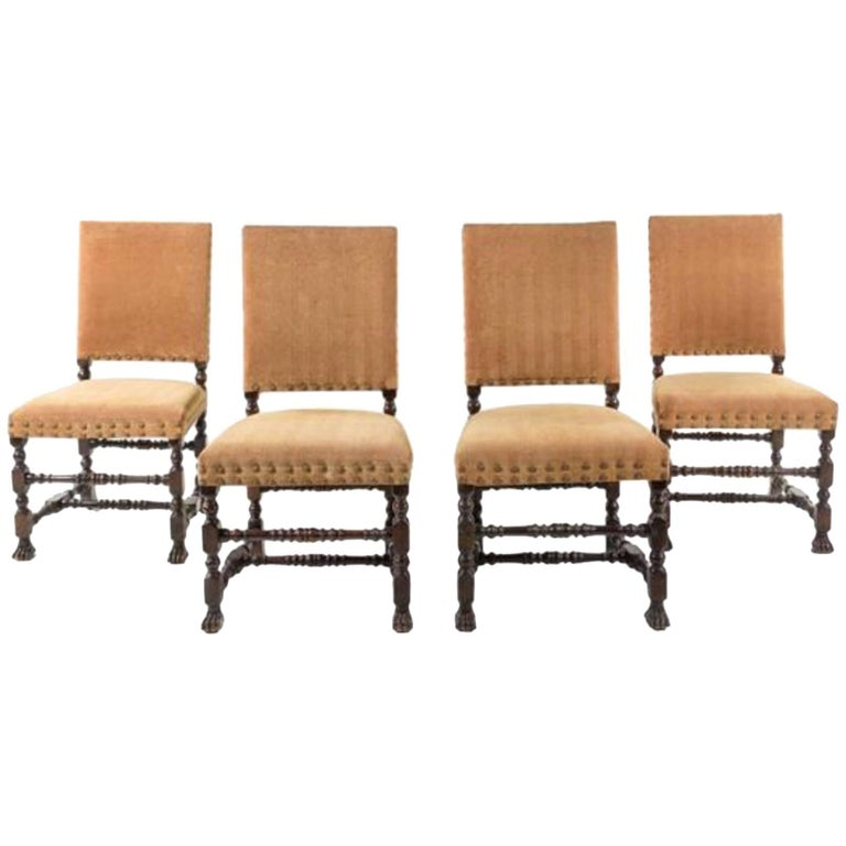 Handsome Set of Four Jacobean Style Side Chairs For Sale
