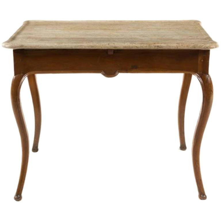 Louis XV Provincial Style Walnut Tea Table with Stone Top, 19th Century 1