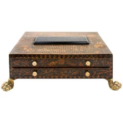 Spectacular English Regency Box with Penwork Decoration, Two Drawers
