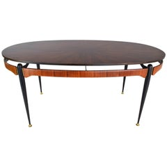 Italian Midcentury Oval Dining Table, 1950s