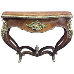 Louis XV Style Ormolu-Mounted Kingwood Console, 19th Century