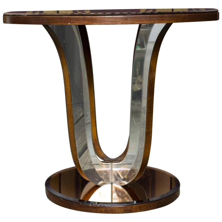 French Art Deco Mirrored Round End Table For