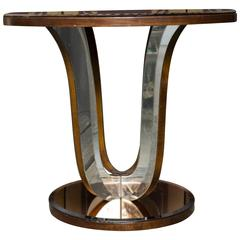 French Art Deco Mirrored Round End Table
