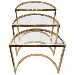 Set of Gilt Bronze Demilune Nesting Tables