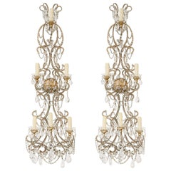 Oversized Pair of Beaded Italian Maria Theresa Five-Light Sconces
