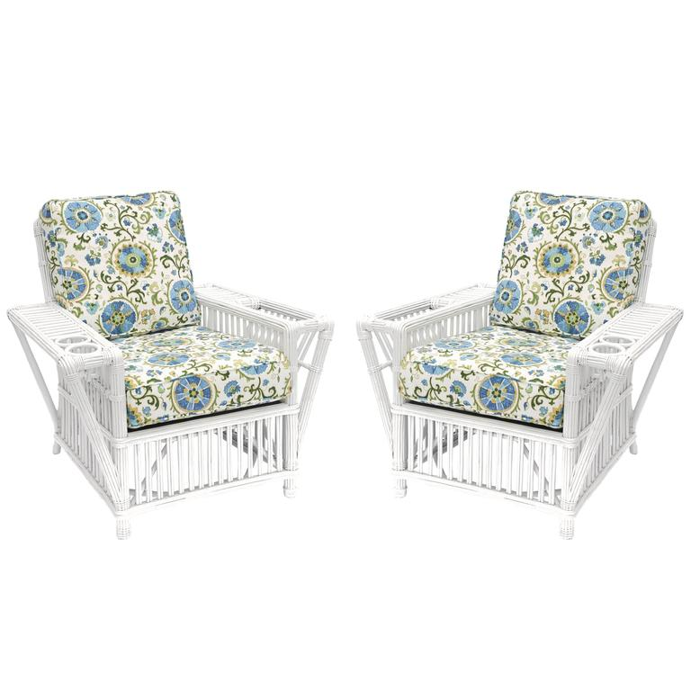 Pair of Art Deco Style Painted Stick Wicker Armchairs by Palecek