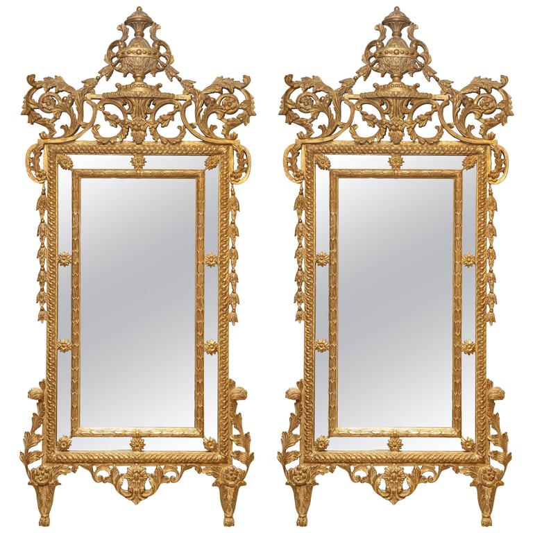 Pair of Carved Giltwood Louis XVI Mirrors