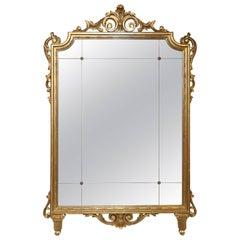 Giltwood Italian Mirror Scrolling Pediment