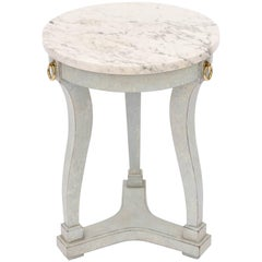 Classical Form Painted Accent Table with Marble Top