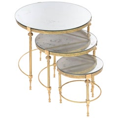 Set of Three Round Nesting Tables with Mirrored Tops