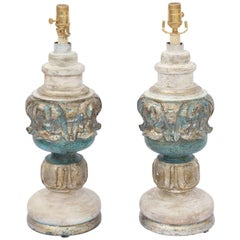 Pair of Painted and Parcel Silver Gilt Carved Wood Finial Lamps
