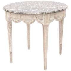 18th Century French Walnut Occasional Table with Marble Top