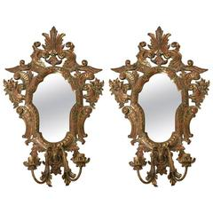 Pair of Large-Scale Hand-Carved Wall Sconce Candleholders with Beveled Mirror