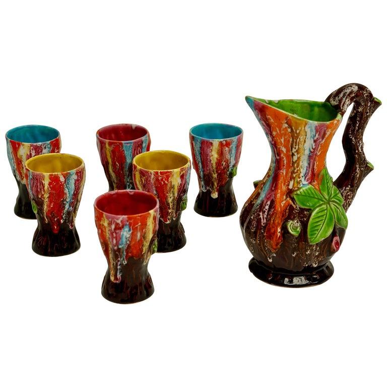 Vallauris Ceramic Drinking Set For Sale