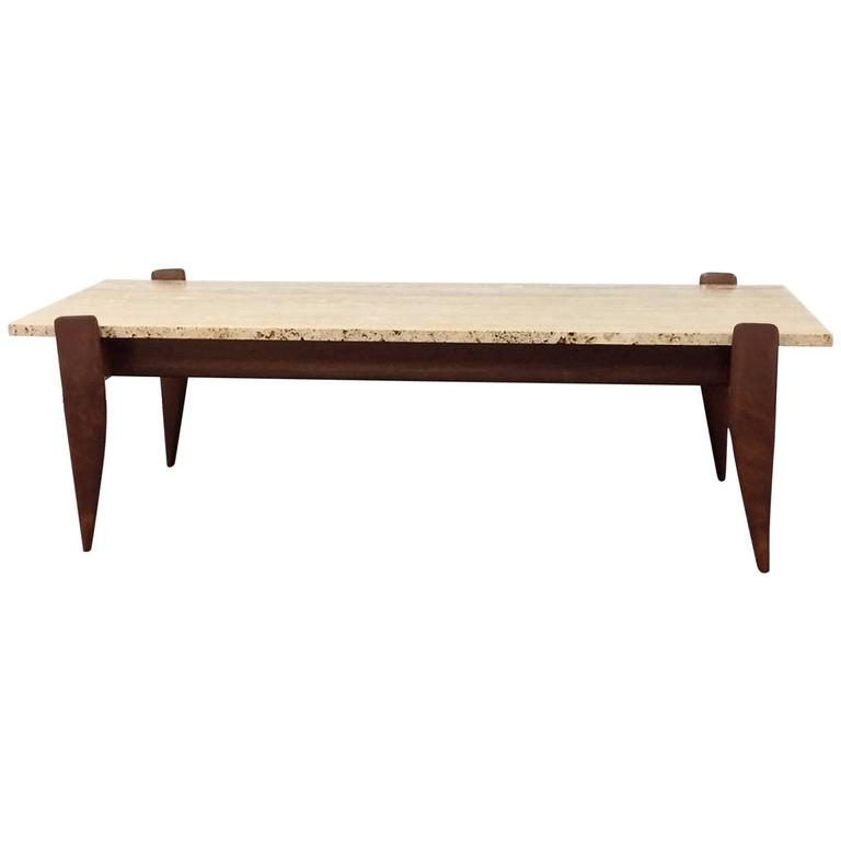 Gio Ponti for M. Singer & Sons Walnut and Travertine Coffee Table 1