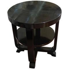 Ebonized Round Side Table, Austria, 1930s