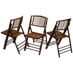 Three Bamboo Folding Chairs