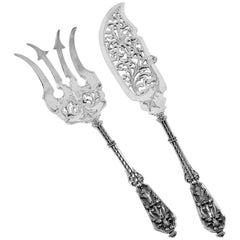Puiforcat Masterpiece French Sterling Silver Fish Server Set 2 Pc, Renaissance