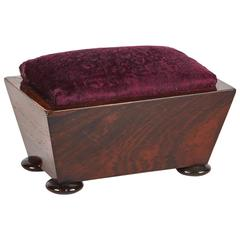Wooden Pin Cushion Box with Round Feet from Late 19th Century England