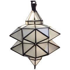 Moroccan Geometric Milk Glass Pendant Light