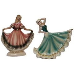 Pair of Signed Figural Dancing Ladies