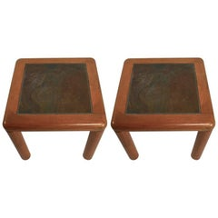 Pair of Teak and Slate Tables by Haslev