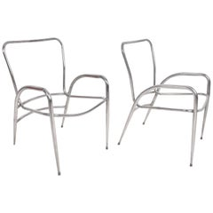 Pair of Sculptural Brown Jordan Aluminum Patio Chairs after Walter Lamb