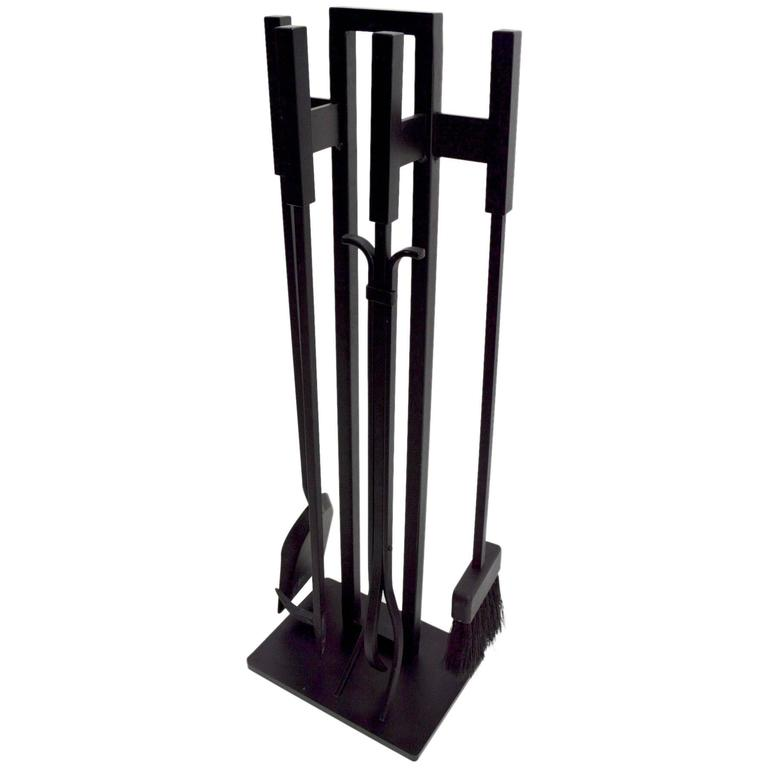 Modernist Black Metal Fireplace Tool Set