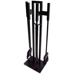 Modernist Black Metal Fireplace Tool Set