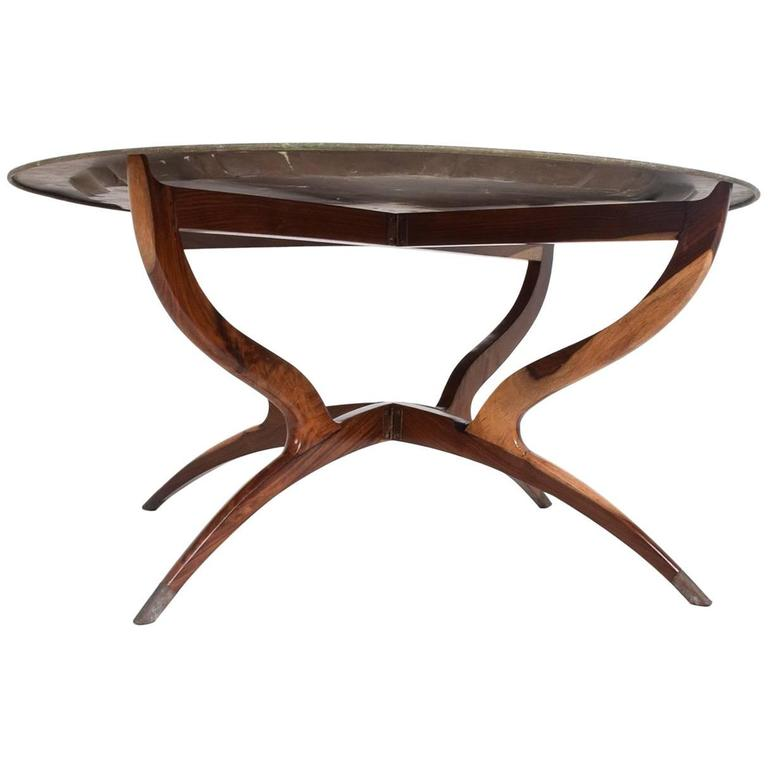 Hollywood Regency Oriental Brass Top Tray Rosewood Base Coffee Table