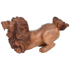 Sculptural Coffee Table Base of Hand-Carved Lion Sculpture Antique