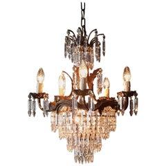 Crystal Chandelier Old Ceiling Lamp Brass Lustre Lights, 1940s