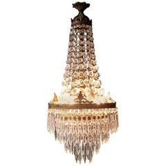 Crystal Chandelier Old Ceiling Lamp Brass Lustre