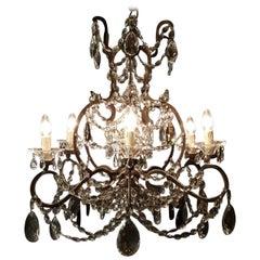 Antique Crystal Chandelier Lustre 19th Century