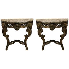 Pair of Italian Carved Giltwood Console Tables