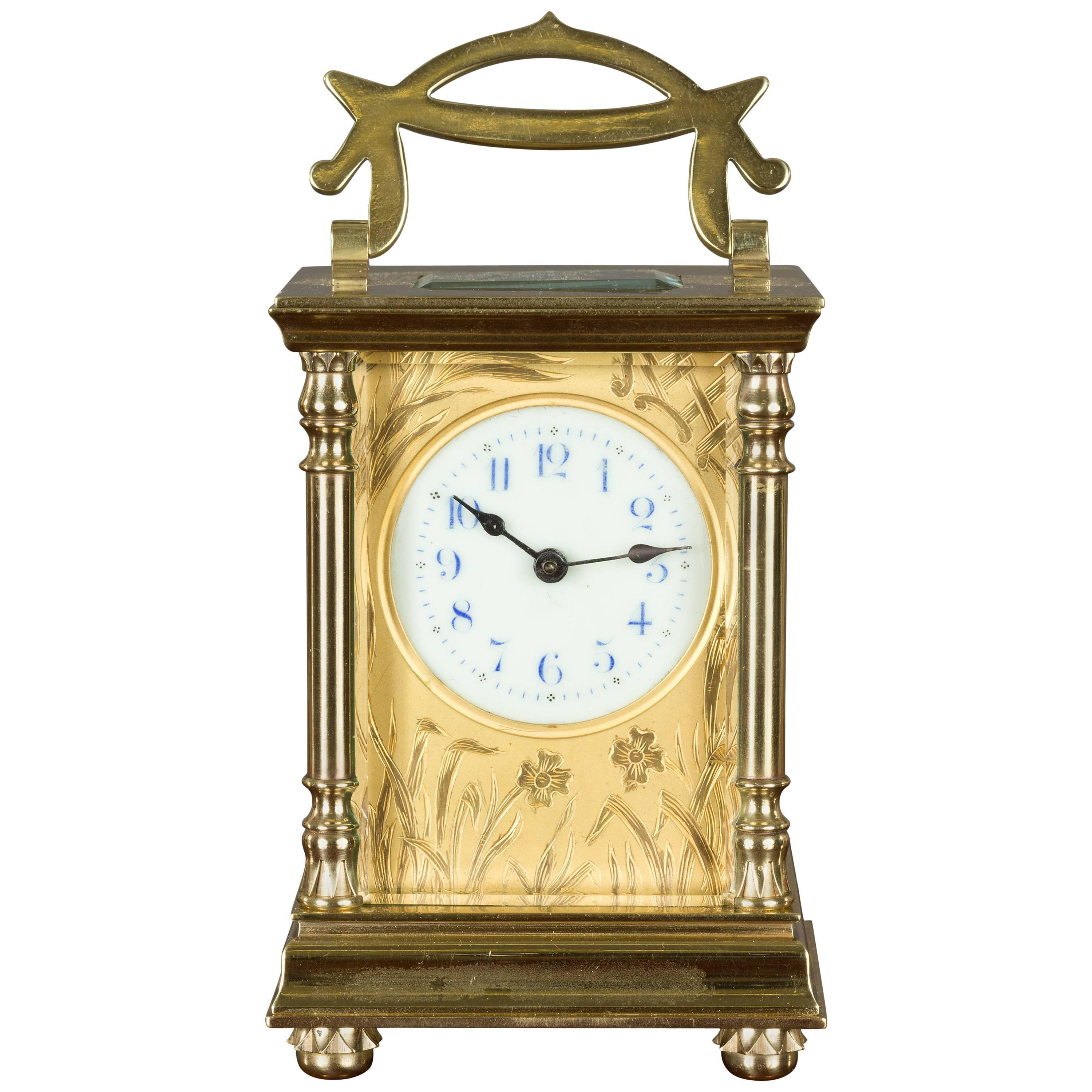 Brass Cased Carriage Clock in the Art Nouveau Style For Sale at 1stdibs