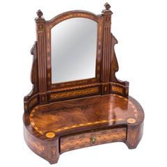 Antique French Burr Walnut Marquetry Dressing Table Mirror, circa 1860
