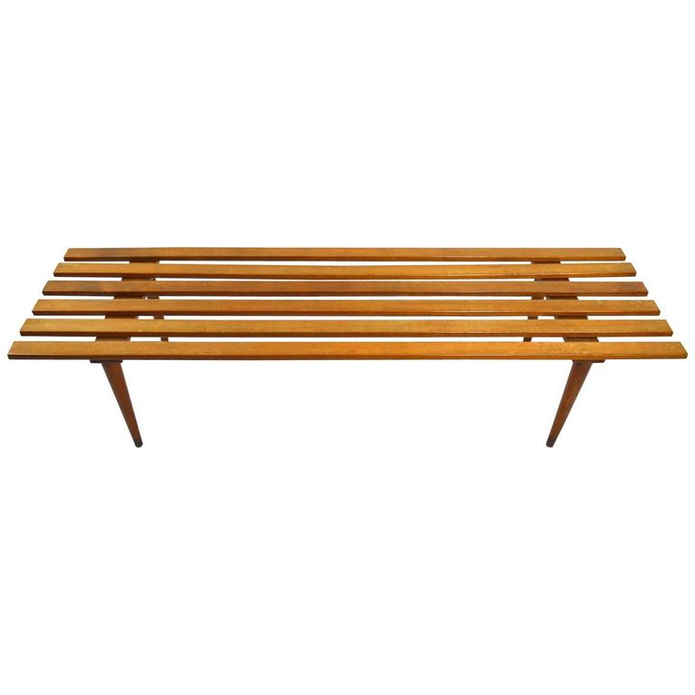 Mid-Century Solid Wood Small Platform Slat Bench Or Coffee