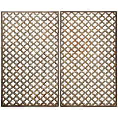 Pair of French Cast Iron Quatrefoil Grilles by Val d'Osne