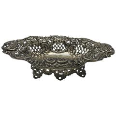 19th Century English Sterling Silver Pierced Dish