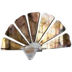 Little Fan as Wall Sconce or Candle Object Art Glass Silvered and Glass Cup