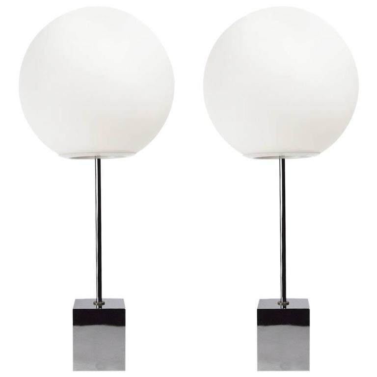 Pair of Robert Sonneman Lollipop Ball Top Table Lamps