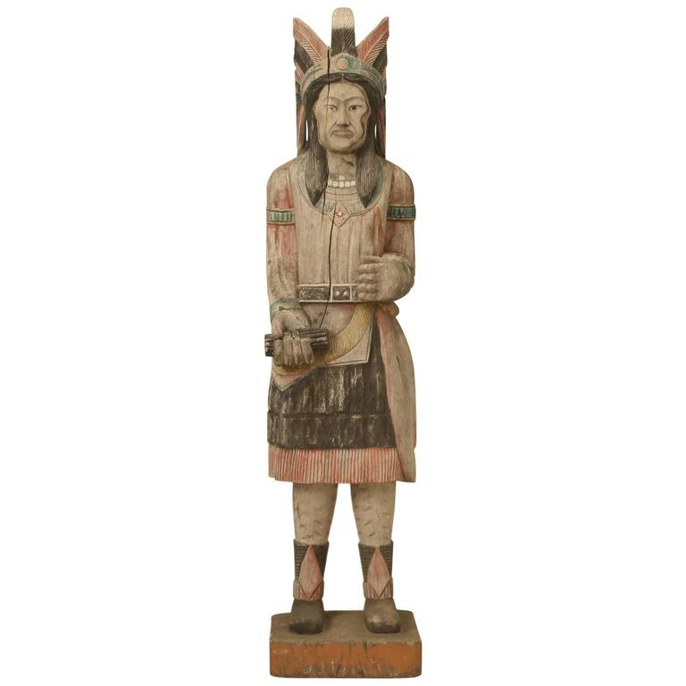Cigar Store Indian Hand-Carved in Original Paint