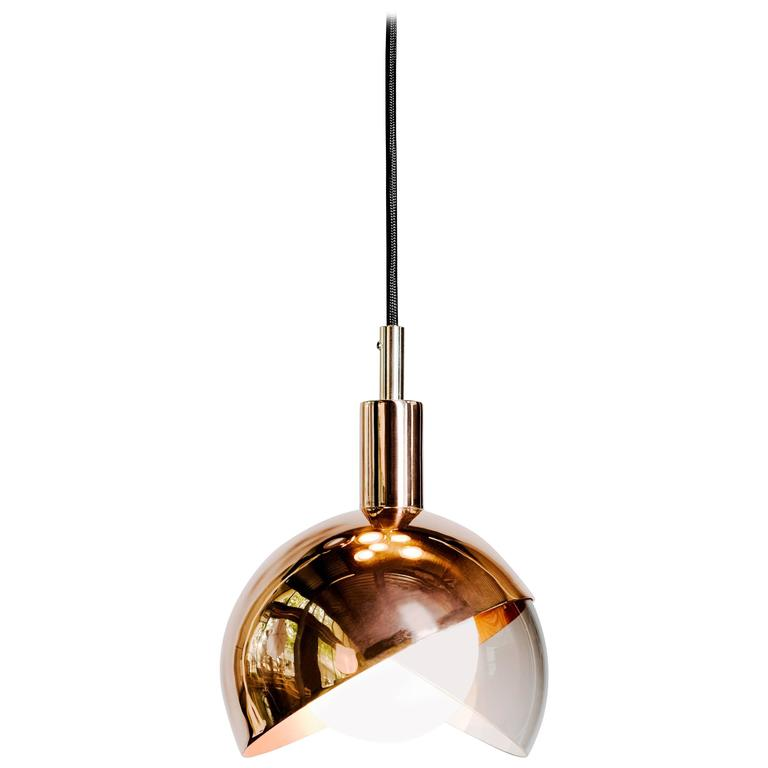 Calimero Medium by Dan Yeffet, Contemporary Lamp Made of Blown Glass & Copper For Sale