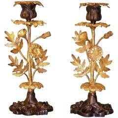Pair of Mid-19th Century Bronze and Ormolu Candlesticks