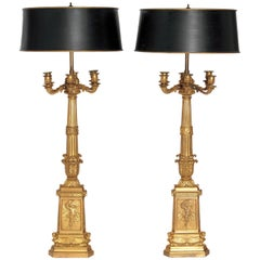 Pair of Tall French Empire Bronze Doré Six-Arm Candelabra as Lamps