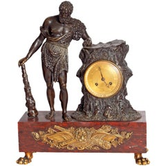 "French Empire Figural Mantel Clock ""Hercule Farnèse"" Attributed to Claude Galle"