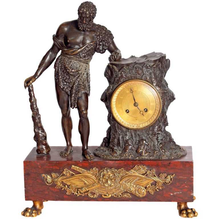 "French Empire Figural Mantel Clock ""Hercule Farnèse"" Attributed to Claude Galle 1"