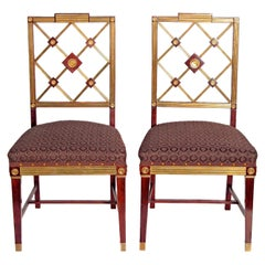 Pair of Russian Empire Neoclassical Brass Mounted Mahogany Side Chairs